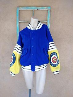 Vintage 1980s Varsity Jacket Letterman 80s Bomber Hip Hop Street Style Mens L Womens L #Bomber #MensVintage #1980sFashion #80sJacket #bycinbyhand #Baseball #HipHop #80sChild #LettermanJacket #VarsityJacket