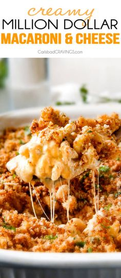 This mega creamy Million Dollar Macaroni and Cheese Casserole is the only macaroni cheese recipe you will ever want to make! make this for guests or family and they will love you forever! The homemade sauce itself is rich and crazy creamy and the casserole is stuffed with a hidden layer of provolone cheese and sour cream that melts when baked for a ridiculous amount of velvety creamy, cheesy goodness.