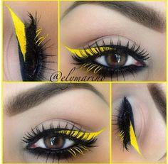 yellow, black, soft, bright, eyeshadow, eyeliner, makeup