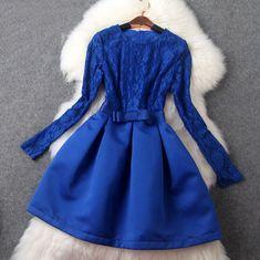 Temperament elegant round neck lace dress VC31210MN