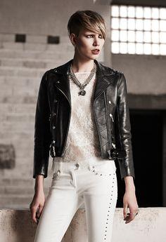 a2e1e3e1a3 The Kooples SS14 #leather #biker #jacket #studs #white #jean #thekooples  #woman #collection