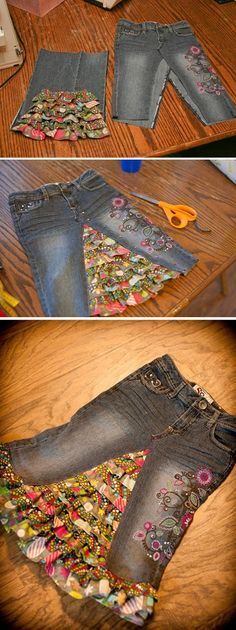 Learn how to turn your jeans into a stylish skirt of any length. We have included a short video to show you how to deconstruct your jeans and also how to add fabric inserts. You'll love the Upside Down Jeans Dress and the Shorts too!