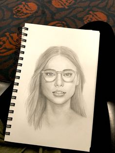 Glasses girl graphite pencil sketch by Mina Fordyce