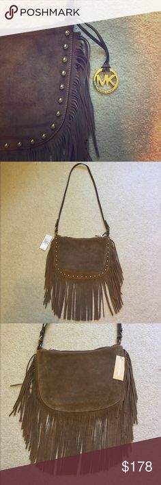 """🆕 Michael Michael Kors Dakota suede saddlebag With the perfect balance of posh, rock & hobo, you will be ready for anything with this 💯 percent authentic MK Dakota fringe saddlebag!!  This gorgeous bag features genuine suede leather in a dark camel color, 8"""" fringe, gold hardware, studs and hangtag, a non-adjustable strap with a 20"""" drop (perfect to wear as a crossbody) and zip top closure.  Interior has a large zipper pocket and four slip pockets.  Comes with care card.  13"""" L x 9"""" H…"""