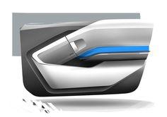 BMW i3 - Interior Design Sketch - Door panel: