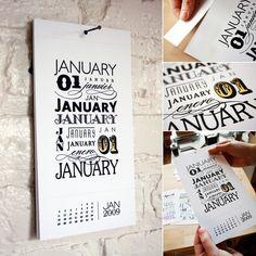 typography tear-away calendar
