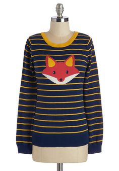 Face the Fox Sweater. The fact of the matter is this - you adore sporting this lightweight navy sweater and its super-cute red fox visage front and center! #blue #modcloth