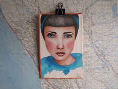 Original Painting Portrait of a Woman in Turquoise and Orange on Vintage Book Cover