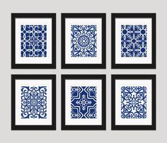 Navy Blue Art Blue White Wall Art Home Decor Set by inkandnectar -- add to black and white photo wall for color? #DIYHomeDecorBlackAndWhite