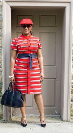 Style-Phyles! Vintage Memo 100 - Red Polo - Wearing:  Unbranded Sunnies, Lago Earrings, Unbranded Vintage Bracelet, The Limited Obi Belt, R&K Knits Vintage Dress, Hermes Tote, Unbranded Newsboy Cap, Stuart Weitzman Heels.