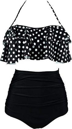 6cc8662666 Amazon.com: COCOSHIP Creamy White & Green Solids Retro Boho Flounce  Falbala High · Trendy Clothes For WomenCasual ClothesSwimsuit ...