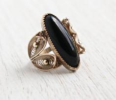 SALE - Vintage 12k Gold Filled Onyx Black Stone Ring - Retro Size 6 1/2 Signed Sorrento Statement Jewelry - Filigree Leaf by Maejean Vintage on Etsy, $30.00