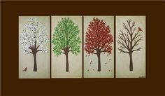 "huge modern tree painting - ""Four Seasons""- multicanvas piece- custom colors and sizes available Four Seasons Painting, Four Seasons Art, Tree Canvas, Canvas Art, Canvas Ideas, House Painting, Diy Painting, Painting Trees, Expressive Art"