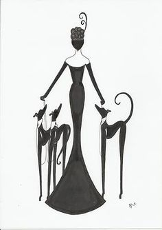 Original Art Deco Painting Picture Lady Figure Woman Greyhound Whippet Dogs