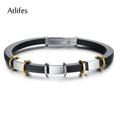 Atlifes 2014 new fashion jewelry wholesale personalized leather male stainless steel bracelet for sportsman AP0013D
