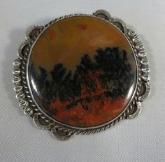 Fred Harvey era petrified wood/ dendrite agate/ picture agate broach sterling #Sterling