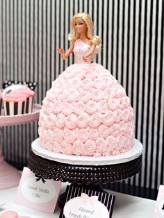 Fancy Pants (Dress… Whatever)  Swirls of sweet icing make this Barbie ball gown cake a stylish stunner. You can skip the fussy fondant -- this one's pretty much just a giant half-ball of cake with a Barbie stuck in the middle and lots of frosting on top.