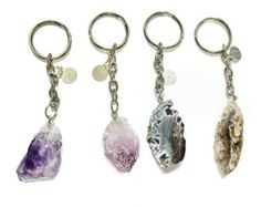 Crystal Visions keychain - Geode druzy on a silver chain and split ring with logo charm - Edit Listing - Etsy