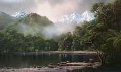"Képtalálat a következőre: ""new zealand landscape paintings"" Landscape Art, Landscape Paintings, Wilson Art, New Zealand Landscape, Sustainable Tourism, Beautiful Landscapes, Watercolor Art, Scenery, Art Gallery"