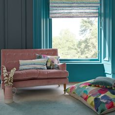 Brighten your home with linen designer cushions with bold colours and statement floral prints. Feel good design from Scottish textile company bluebellgray. Bluebellgray, Pastel Pattern, Office Interior Design, Floor Cushions, Home Bedroom, Color Inspiration, Upholstery, Sweet Home, Lounge