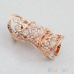 Hot  Fashion Punk Cool Western Style Rhinestone Joint Finger Cross Ring Jewelry 2 Colors  7FE9 BD6N #Affiliate