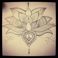 Hand drawn lotus flower tattoo. Sketch. Diy. Lotus tattoo. Tattoo ideas. Abstract. Doodle art. Zendoodle. Buddha, spiritual, happiness, consciousness.