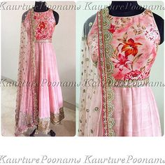 """""""This beautiful raw silk powder pink Anarkali customized for a special beauty in the UK  For any inquiries please see my bio. Free worldwide shipping…"""""""