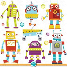 "Robots Clipart Pack ""CUTE ROBOTS"" digital clip art, Cute Robots, Robots, Funny Robot perfect for scrapbooking, invitations, party card Rb002"