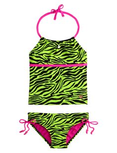 Neon Zebra Tankini Swimsuit | Tankinis | Swimsuits | Shop Justice