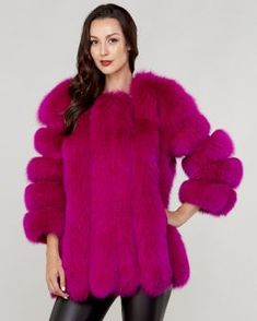 c715bd8c6ba Luciana Fuchsia Fox Fur Coat with Vertical Panels Coyote Fur Coat