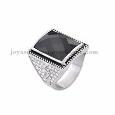 anillo de piedra negra moda en acero plateado inoxidable -SSRGG371833