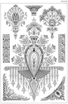 Dover publications, Creative Haven Art Deco Egyptian Designs Coloring Book. Artwork adapted from designs by Paul Marie.
