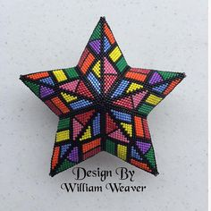 Make you own beautiful Kaleidoscope Star Beading technique: Peyote Stitch Project level: Intermediate/advanced. You should be familiar with Peyote stitch. Beading Tutorial for Patriotic Houndstooth Star is very detailed, easy to follow, step by step with clear beading