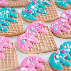 these look delicious! By @thedessertpantry #cookies #icecream #decoratedcookies #edibleartb#sweets #sugarcookies