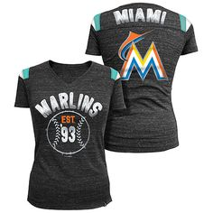 Miami Marlins Women's Throwback Tri-Natural V-Neck T-Shirt by 5th & Ocean.