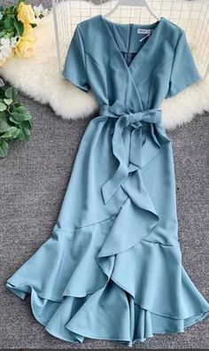 Wrap Dress Womens Dress With Ruffles At The Bottom Dresses Daisy Dress For Less Wickelkleid D. Dresses For Less, Casual Dresses, Maxi Dresses, Wrap Dresses, Elegant Dresses, Beautiful Dresses, Evening Dresses, Formal Dresses, Sparkly Dresses