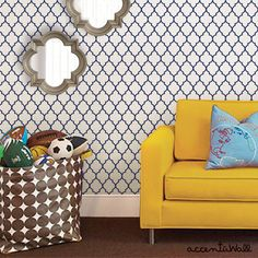 Moroccan Small Pattern Navy Peel & Stick Fabric Wallpaper Repositionable