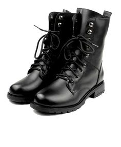 Lace Up Leather Biker Boots