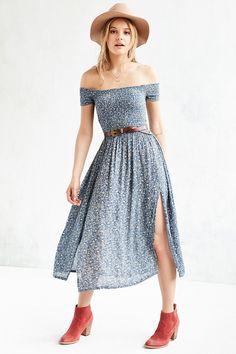 Kimchi Blue Picnic Smocked Off-The-Shoulder Midi Dress