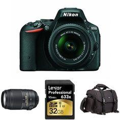 Nikon D5500 DSLR (Black) w/ 18-55mm and 55-300mm Lenses + Accessories