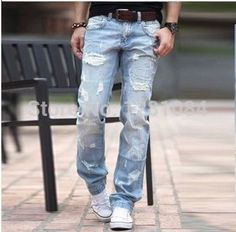 SEXCOOL Boutique explosion models necessary influx of men handsome men's jeans male Korean version of the influx of summer hole jeans men - Taobao Ripped Jeans Men, Patched Jeans, Denim Skinny Jeans, Slim Jeans, High Jeans, Black Jeans, Buy Jeans, Love Jeans, Men's Jeans