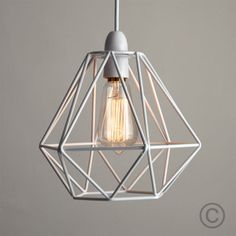 Designed to be used with a feature bulb this geometric copper modern white metal wire frame ceiling light pendant shade industrial lightshade greentooth Images