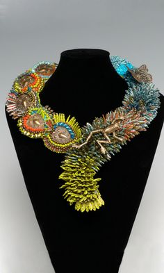 Collar-Style Necklace with Copper Color Focals, Czech Pressed Glass Beads and Seed Beads