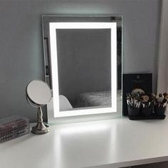 Keller LED Makeup Mirror Keller International presents our NEW Keller LED Lighted Makeup Mirror with a continuous line of white lighting. The white LED ribbon border offers an efficient way to brighten up your atmosphere for both professional and personal Wall Mounted Makeup Mirror, Mirrors For Makeup, Makeup Mirror With Lights, Led Mirror, Salon Equipment For Sale, Salon Mirrors, Vanity Mirrors, Free Standing Towel Rack, Styling Stations