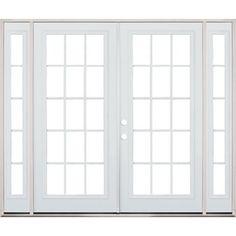 simonton white 3 panel french rail sliding patio door with