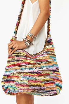Bag Lady Pinspiration! Rainbow Woven Bag. ☀CQ #crochet #bags #totes http://www.pinterest.com/CoronaQueen/crochet-bags-totes-purses-cases-etc-corona/