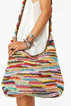 Bag Lady Pinspiration! Rainbow Woven Bag. ☀CQ #crochet #bags #totes http://www.pinterest.com/CoronaQueen/crochet-bags-totes-purses-cases-etc-corona/