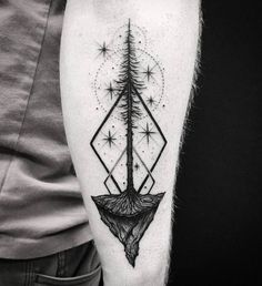 Black Ink Tree Tattoo with Geometric Elements and Stars by thomasetattoos