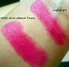Dupe Diaries   MAC Girl About Town Vs Inglot Freedom Lipstick Refill 69