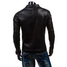 Pánske kožené bundy · Pánska koženková bunda čiernej farby - fashionday.eu 7c9252034e3